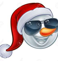 a cool snowman christmas emoticon emoji wearing a santa hat and sunglasses or shades stock vector [ 1300 x 1188 Pixel ]