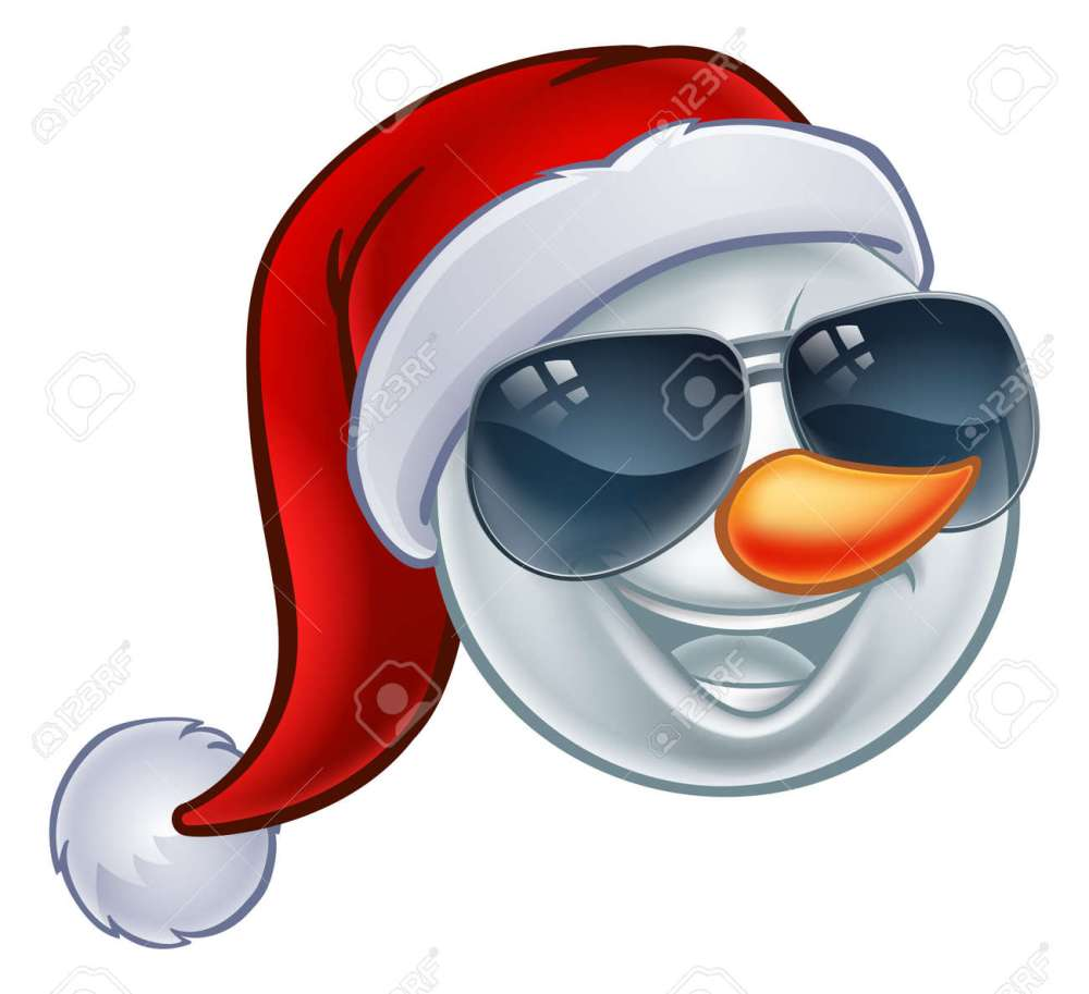 medium resolution of a cool snowman christmas emoticon emoji wearing a santa hat and sunglasses or shades stock vector