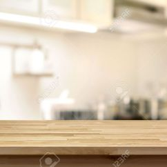 Kitchen Table Top Memory Foam Mats Wood As Island On Blur Background Stock Photo Can Be Used For Display Or Montage Your Products