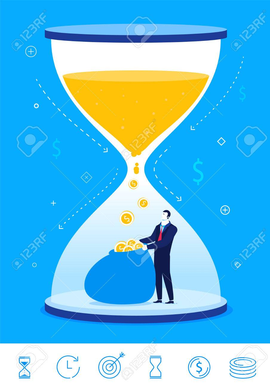 hight resolution of flat design concept illustration time is money businessman turns time into money clipart