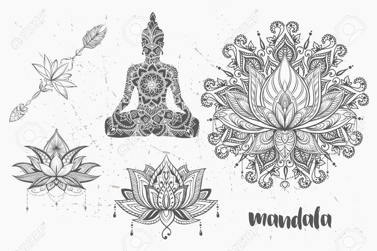 Mandala Set Y Otros Elementos Vector Tatuaje De Mandala Estilo