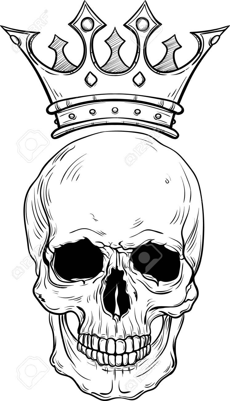Bosquejo Dibujado Mano De Una Calavera Con Corona Para Tatuaje Línea