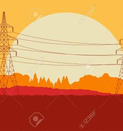 energy distribution high voltage power line tower sunset landscape with wires and trees vector background stock [ 1300 x 921 Pixel ]