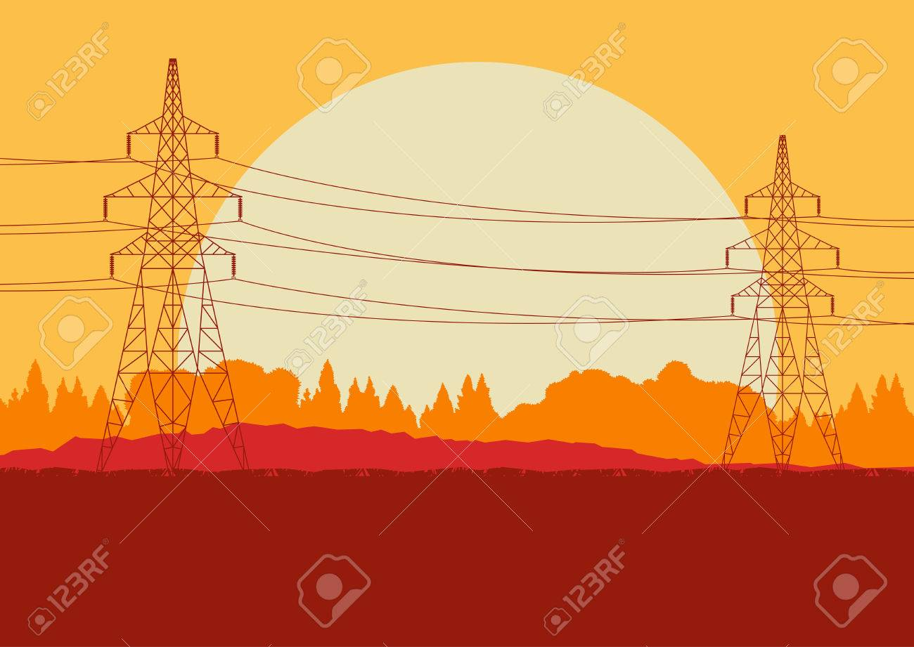 hight resolution of energy distribution high voltage power line tower sunset landscape with wires and trees vector background stock