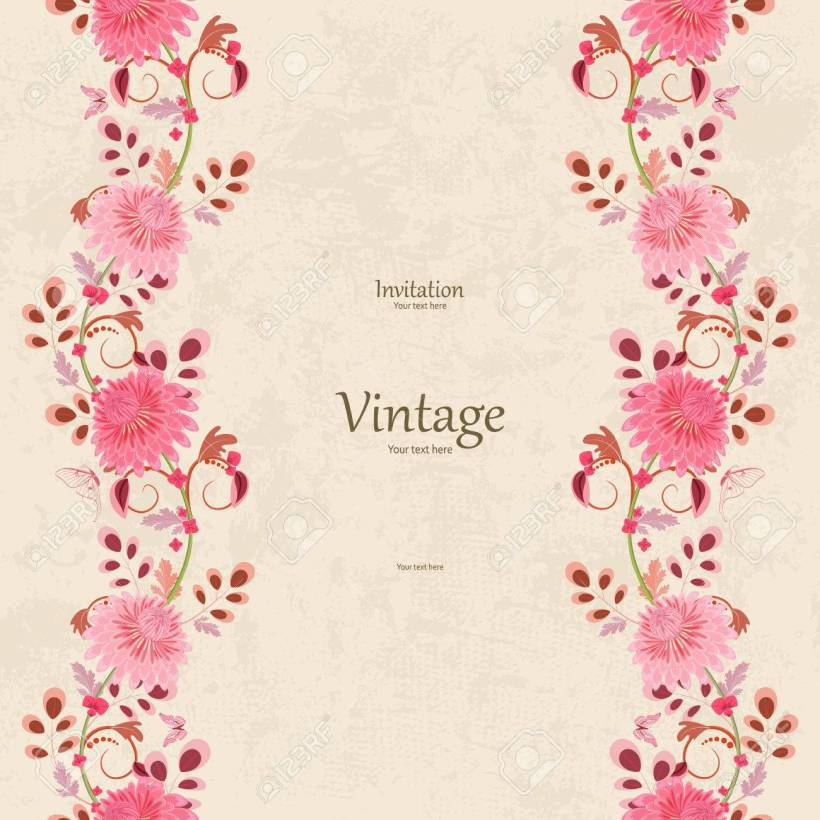 Vector Vintage Invitation Card With Seamless Fl Borders For Your Design