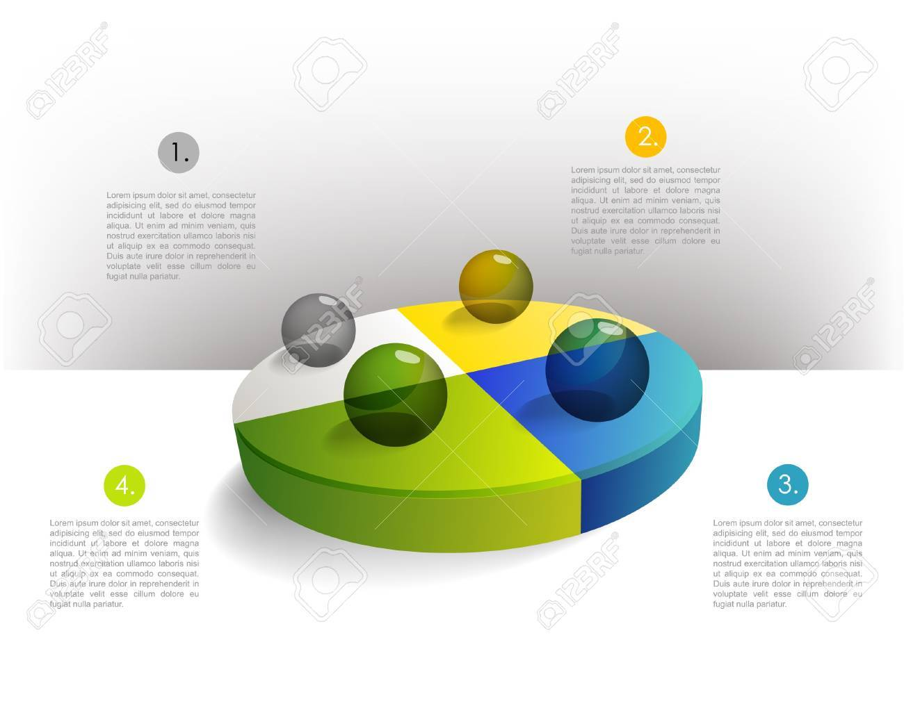 hight resolution of presentation template circle graph with a 3d glass balls pie chart diagram infographics web elements stock