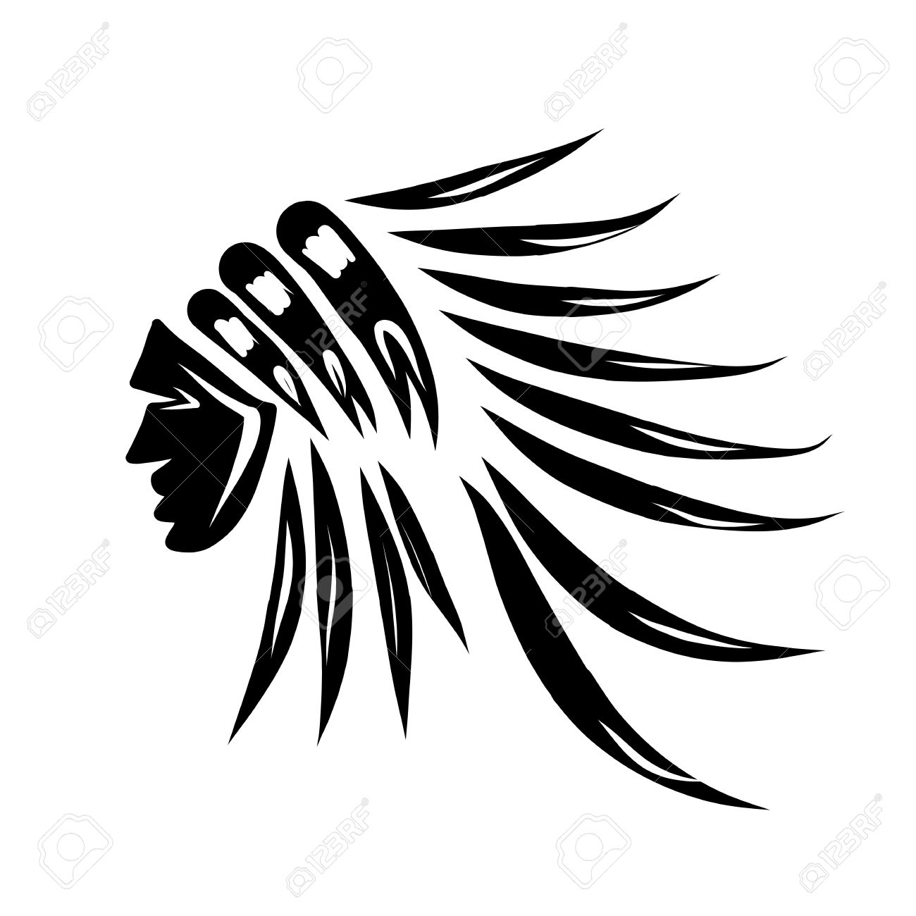 hight resolution of head of indian chief black silhouette for your design stock vector 30683250