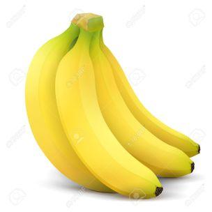 Banana Fruit Close Up. Bunch Of Bananas Isolated On White ...