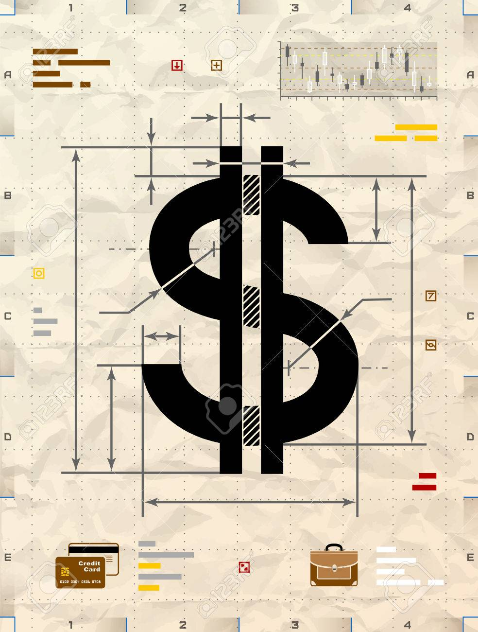 Money Sign Drawing : money, drawing, Dollar, Technical, Blueprint, Drawing., Drafting, Money.., Royalty, Cliparts,, Vectors,, Stock, Illustration., Image, 51043782.