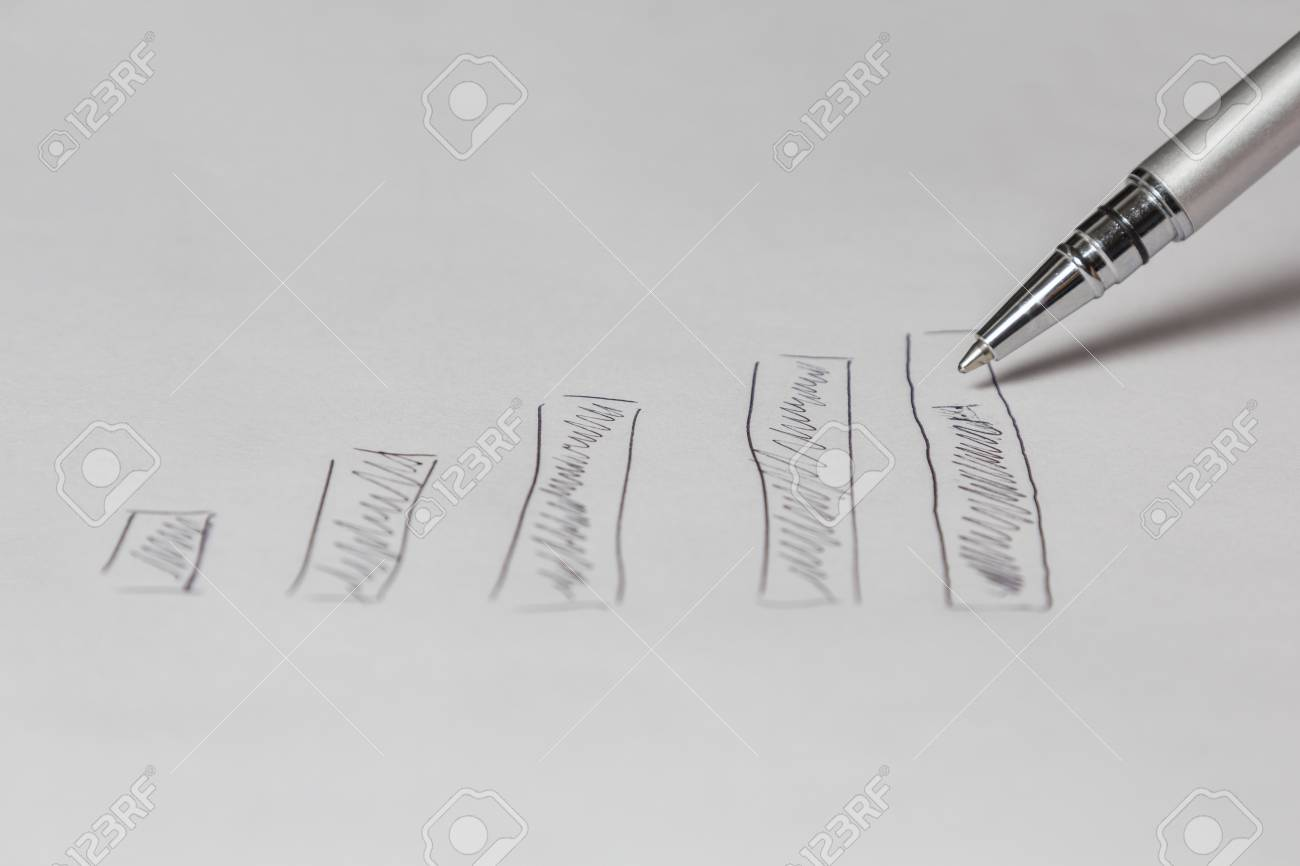 hight resolution of silver pen drawing a diagram on a white sheet stock photo 36110325