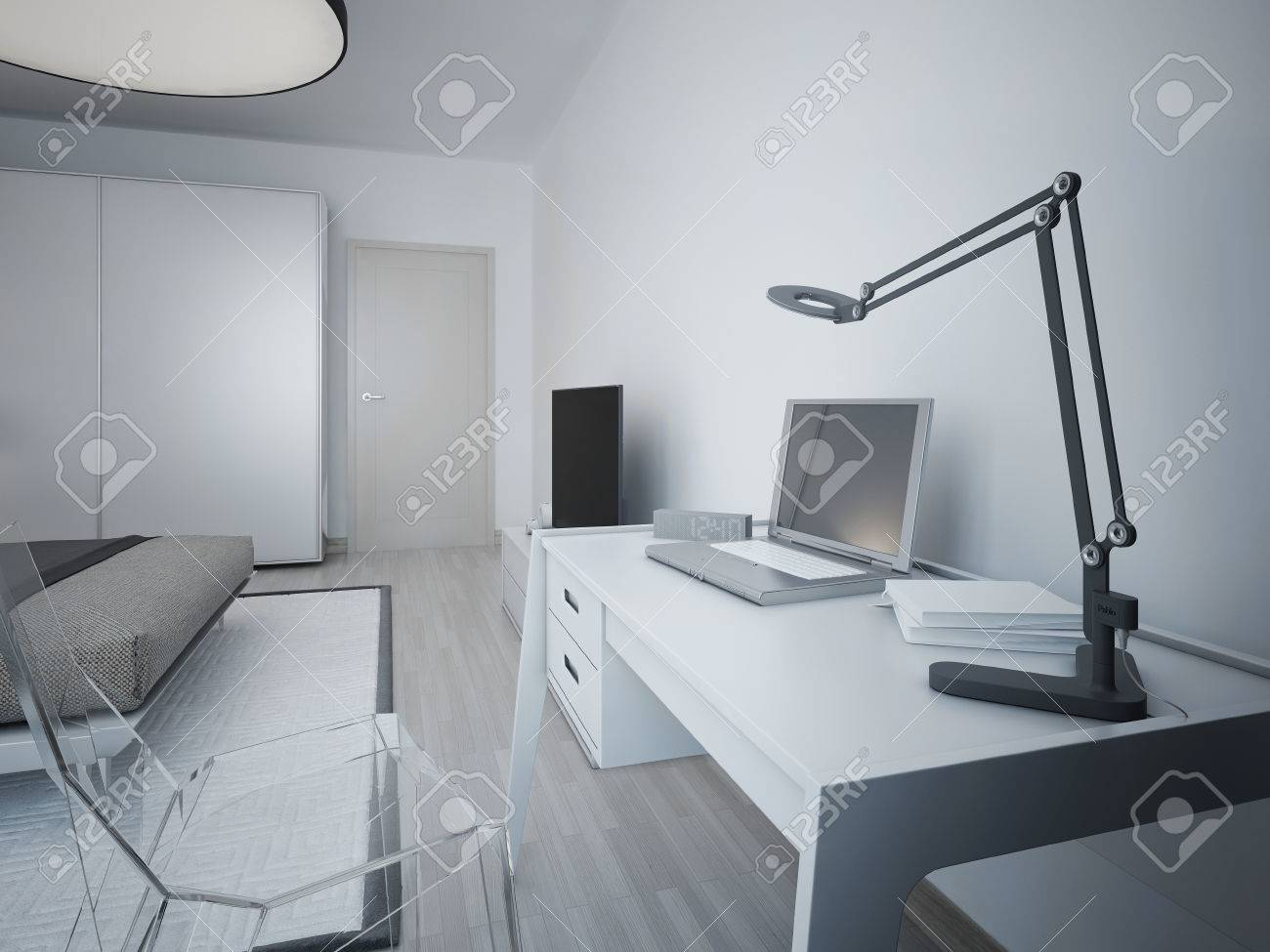 bedroom glass chair flip out sleeper idea of working area in modern white designer table stock and transparent
