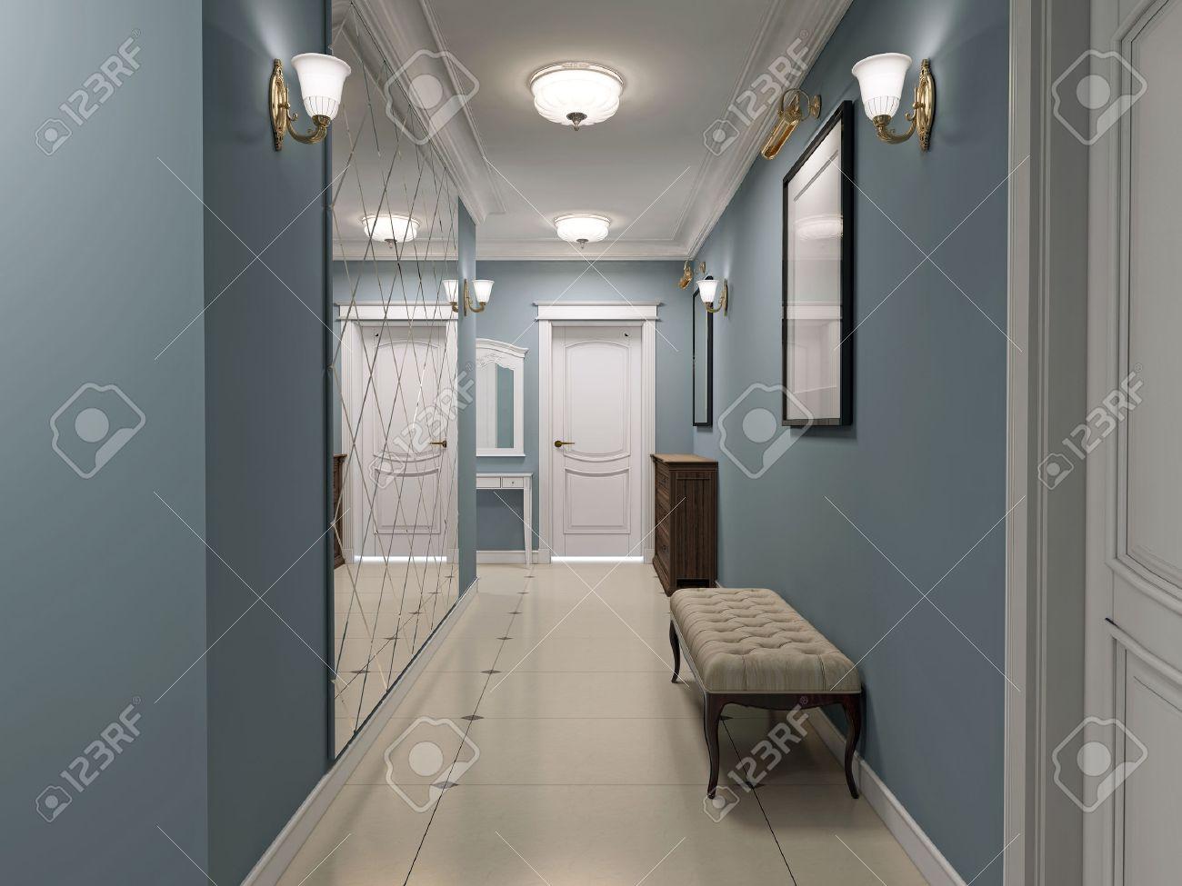 hall d entree de luxe art deco couloir avec des murs en bleu mat et un sol en marbre blanc plafond et portes blanc miroir mural decore 3d render