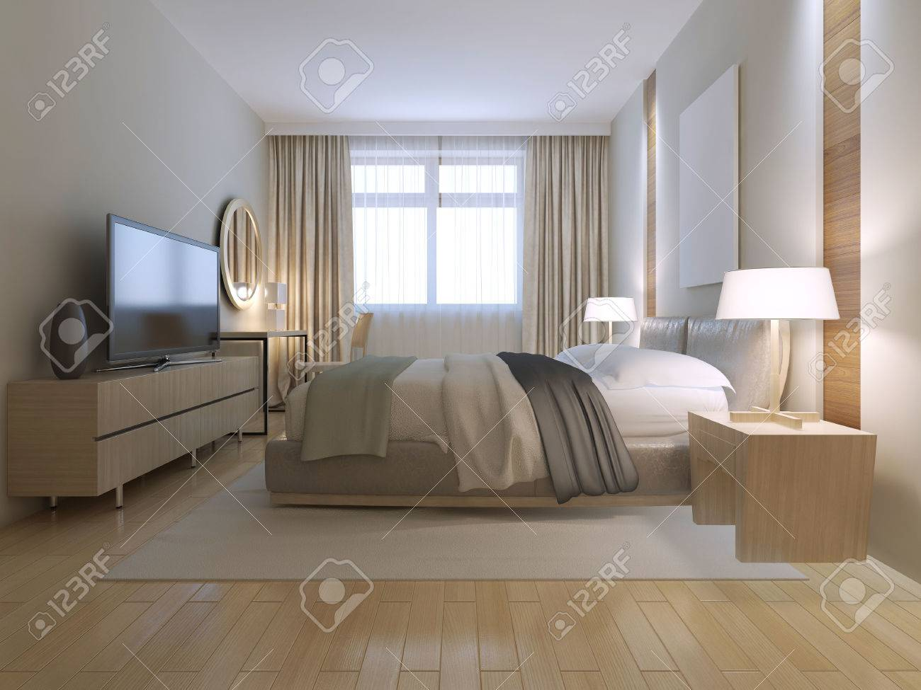 Contemporary Bedroom Design Spacious Room With Light Wood Parquet Stock Photo Picture And Royalty Free Image Image 46284338