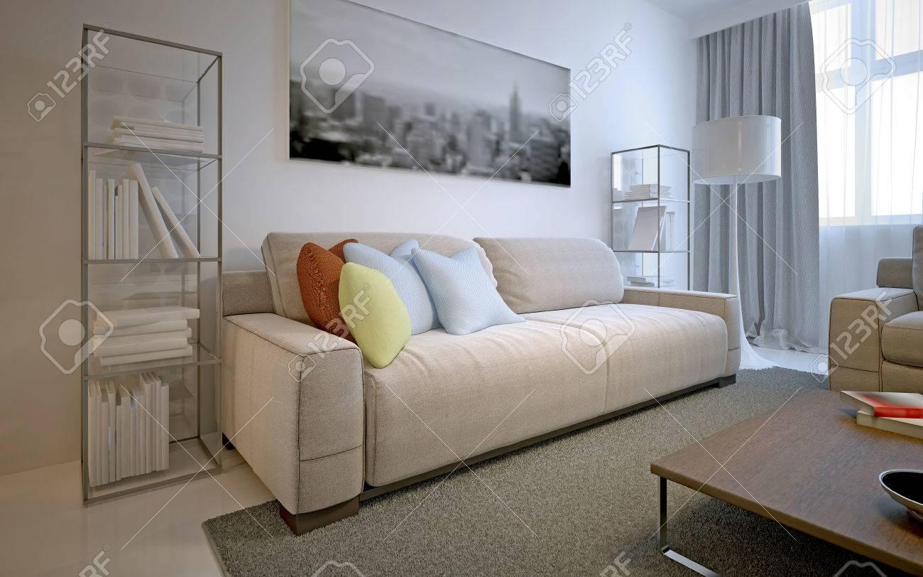 solution lumineux pour salon moderne les murs blancs polishtd plancher contrete tich moquette canape cosmique latte et etageres en verre sur les