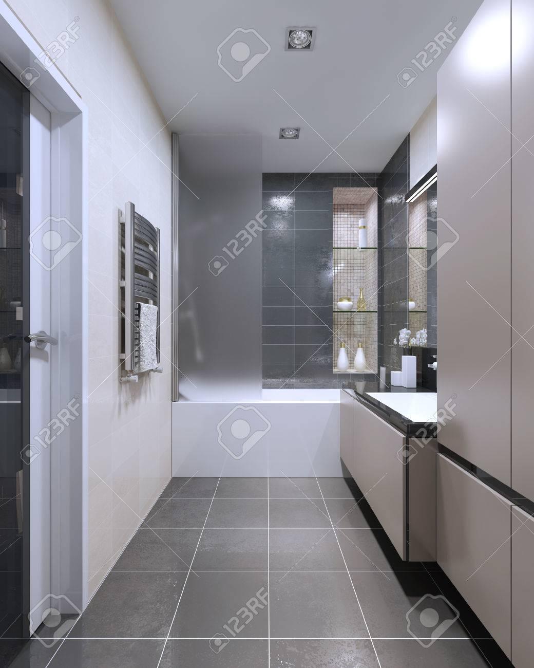 cher high tech salle de bain tendance mobilier beige mat avec un decor gris fonce salle de bain et douche combinee murs carreles les lampes