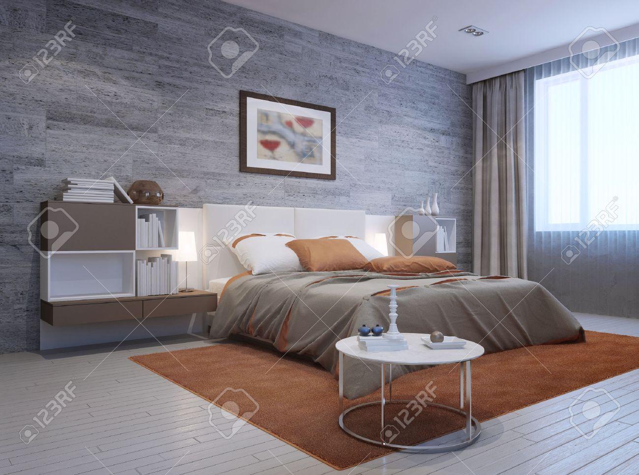 vue de l interieur moderne de chambre lit double de luxe avec tete de lit blanc et des meubles monte des deux cotes dans les couleurs blanc et taupe