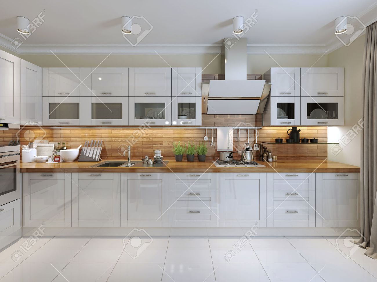 Contemporary Kitchen Design 3d Render Stock Photo Picture And Royalty Free Image Image 47271413