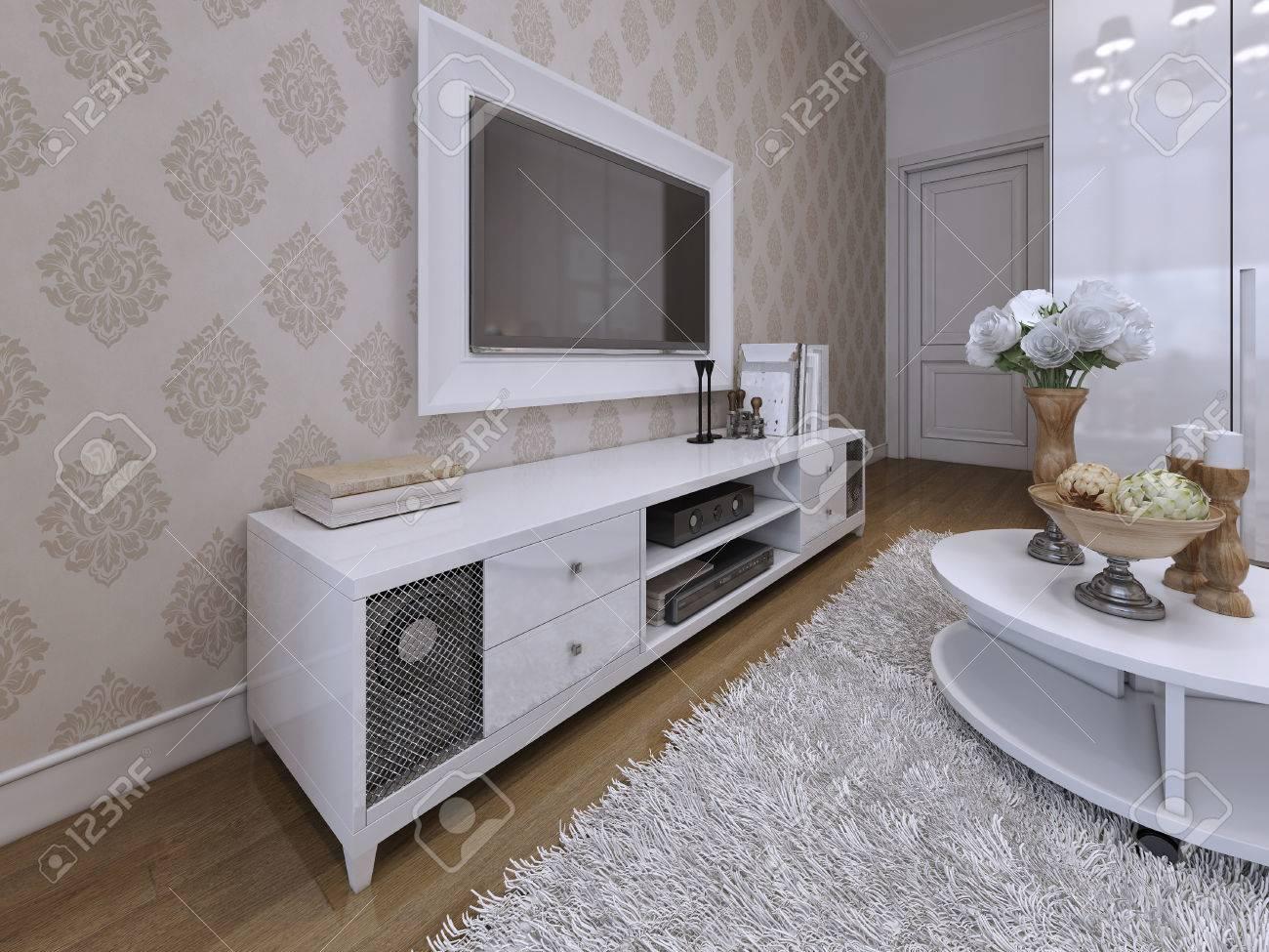 meuble tv avec un televiseur sur le mur dans un cadre blanc style moderne et art deco rendu 3d
