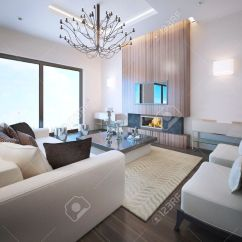 Wood Frame Living Room Furniture Small Rooms Avant Garde Trend High Ceiling With Neon Lights Fireplace