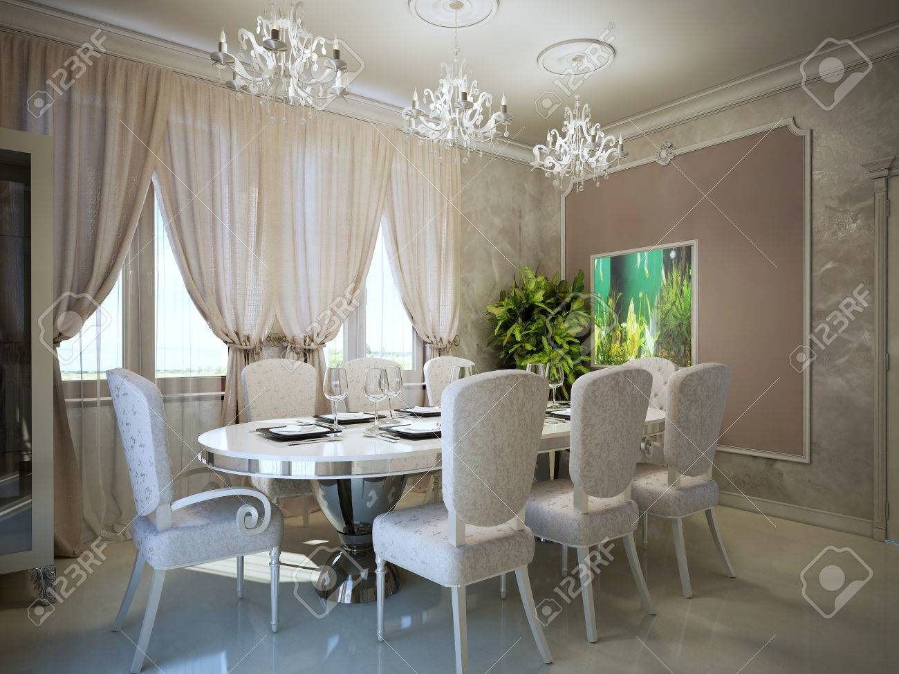 salle a manger dans la tendance art deco moulage sur les murs dans un interieur moderne servi table a manger ovale pour huit personnes 3d render