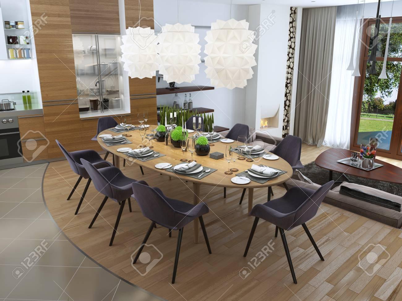 luxe salle a manger dans un style contemporain avec une grande table a manger pour huit personnes luxe blanc lustre suspendu au dessus de la table de