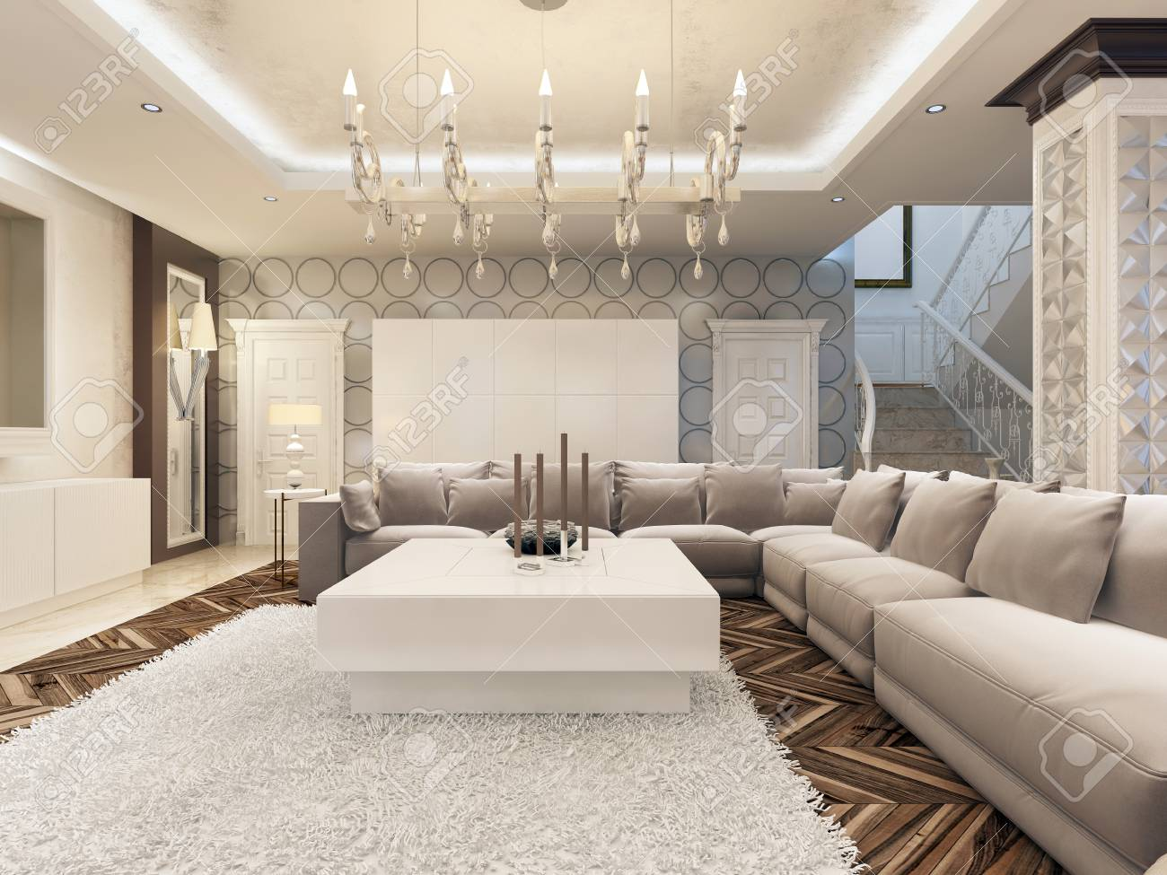 large corner sofa in small living room painting my ideas luxury art deco design bright with and two armchairs 3d