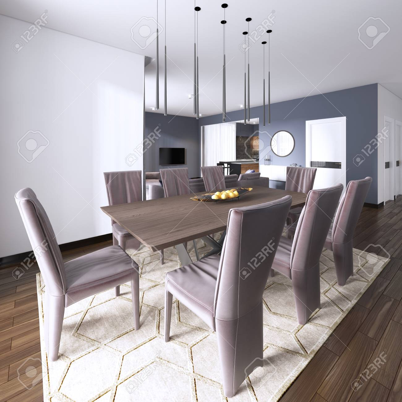 Luxurious Modern Dining Room Boasts A Wood Dining Table Illuminated Stock Photo Picture And Royalty Free Image Image 113376801