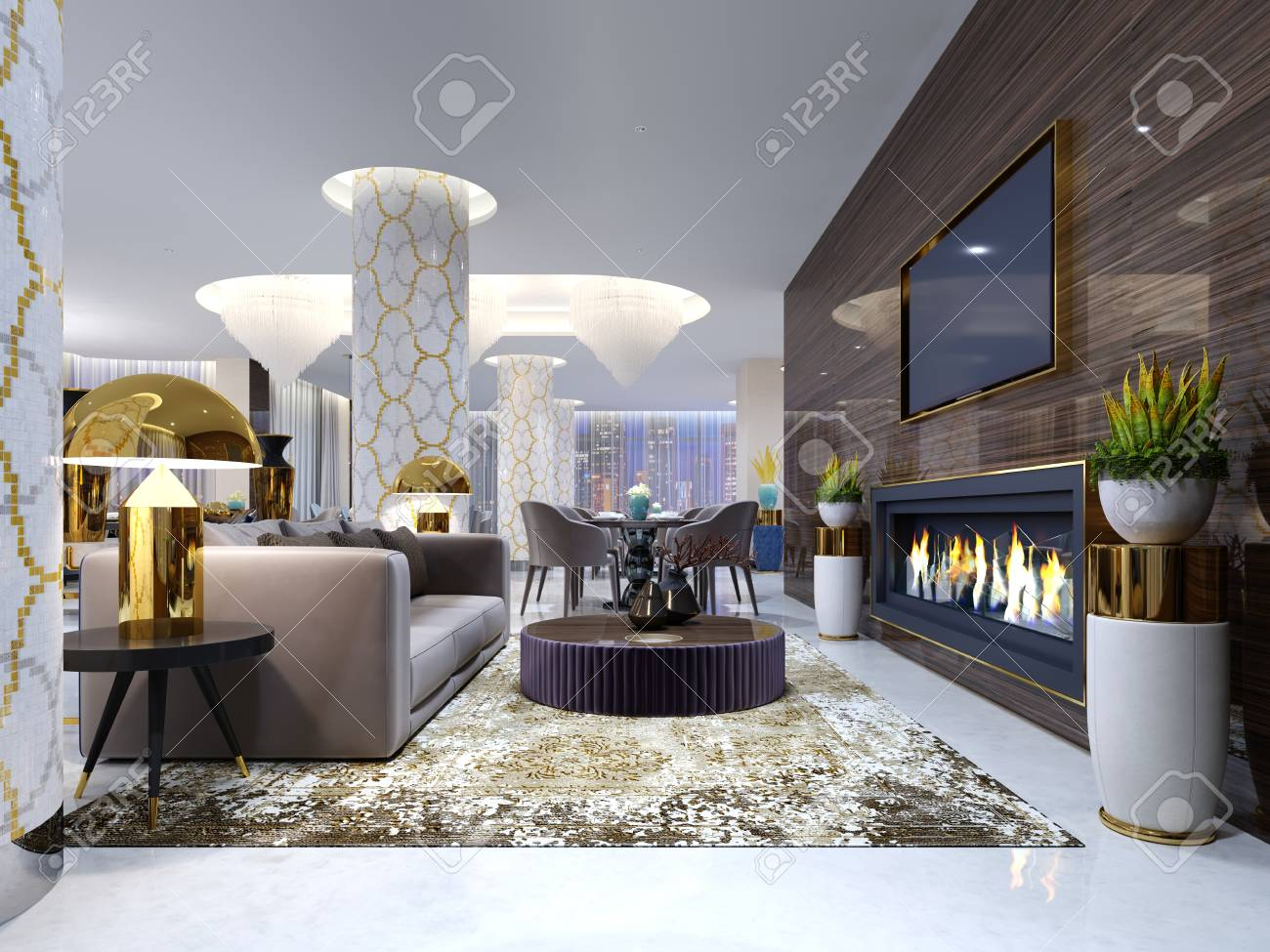 fireplace lounge area in a luxury hotel with a soft sofa armchairs