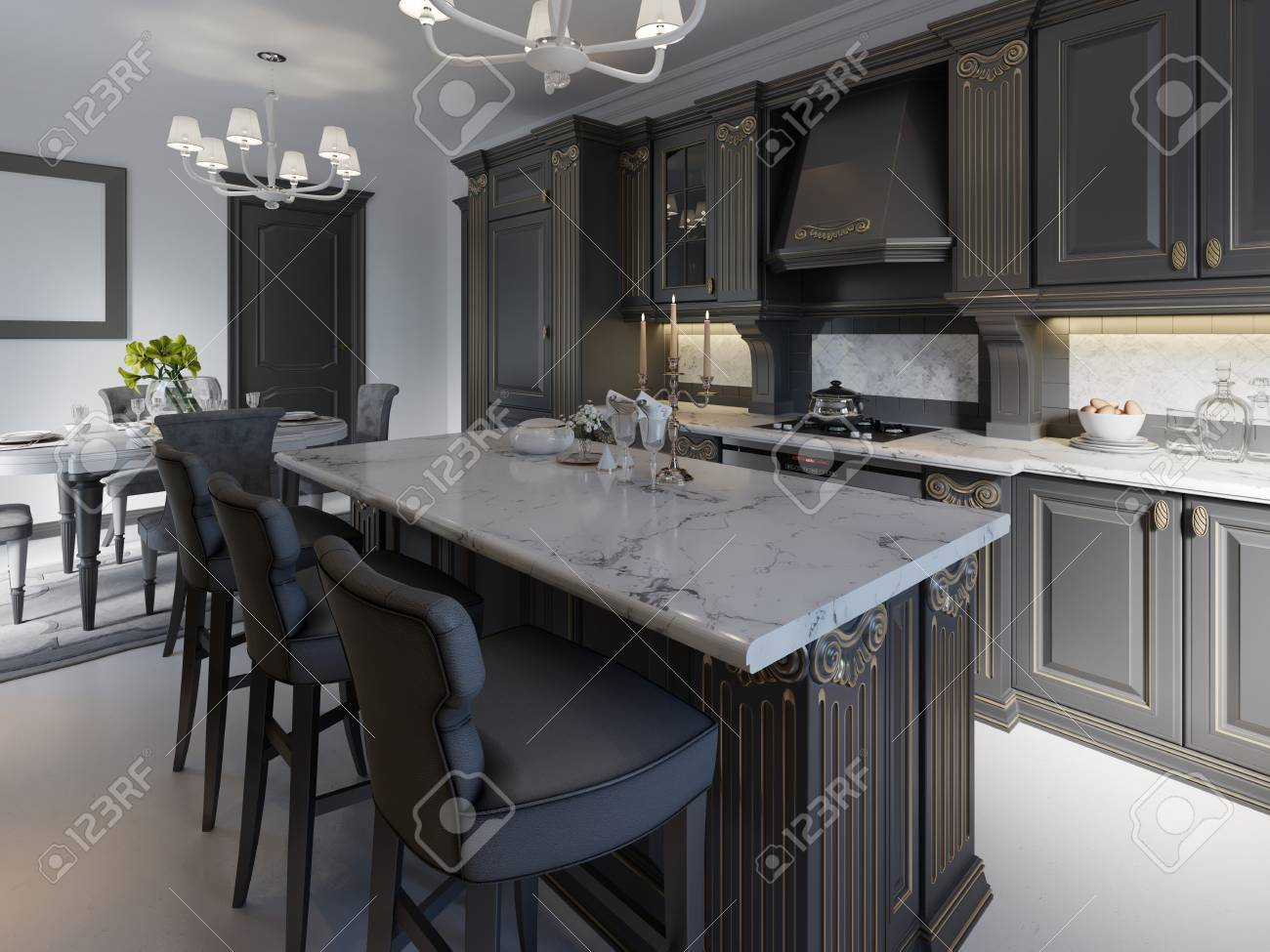 Black Bar Stools At Kitchen Island In Bright Living Room 3d Stock Photo Picture And Royalty Free Image Image 113850302