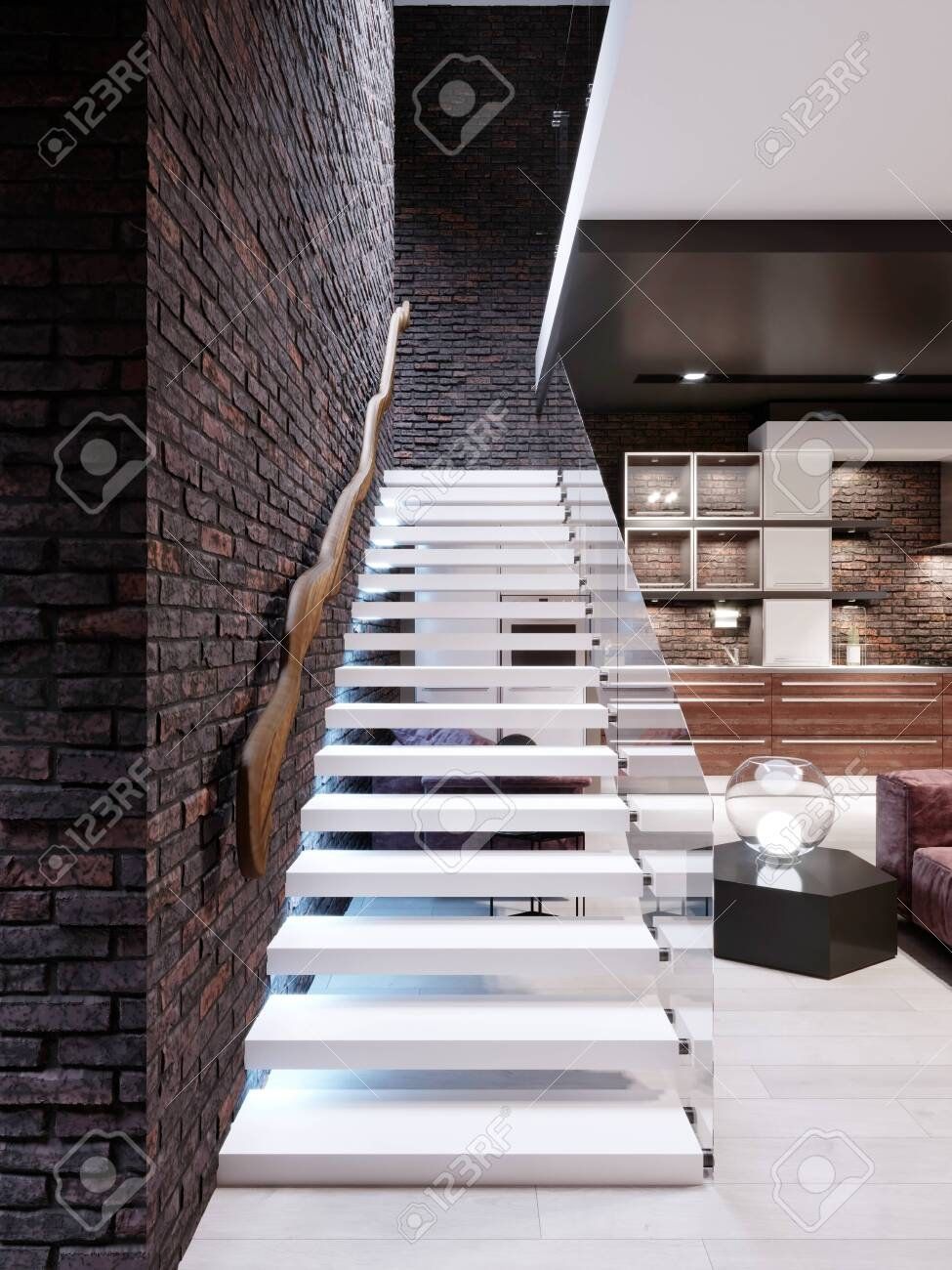 Modern Design Staircase In The Living Room With Glass Railings | Glass Railing Designs For Stairs | Spiral Staircase | Beautiful | Contemporary | Curved | Guardrail