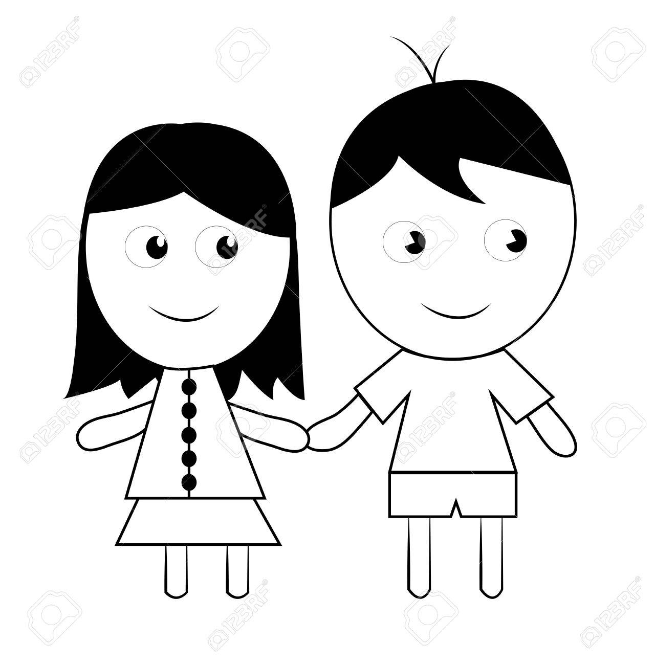 Coloriage Enfant Le Dessin De Lenfant Dun Couple Sur Un Fond Blanc Banque D