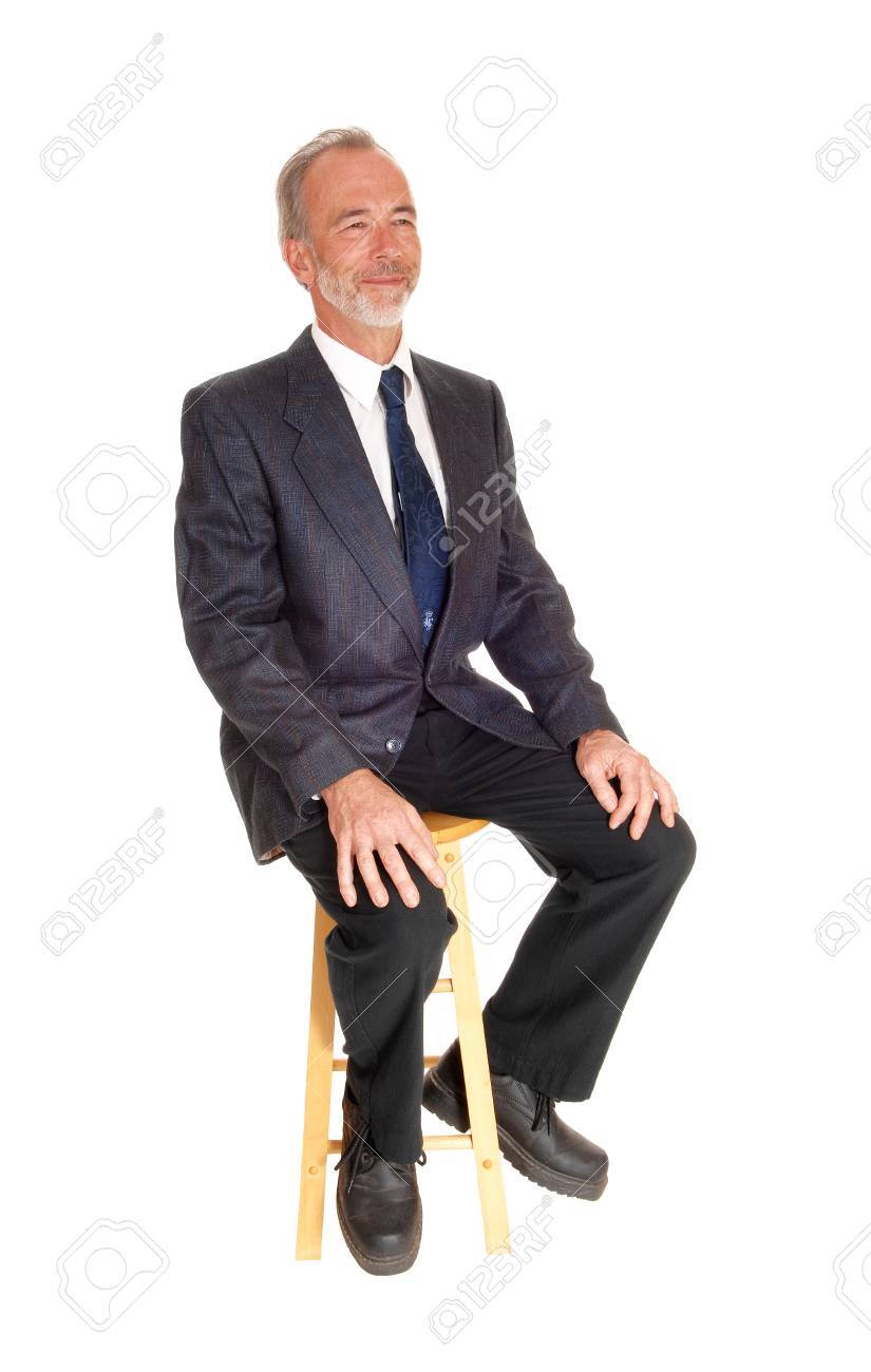Chair Pants A Happy Middle Age Mal In A Dress Pants Tie And Jacket Sitting