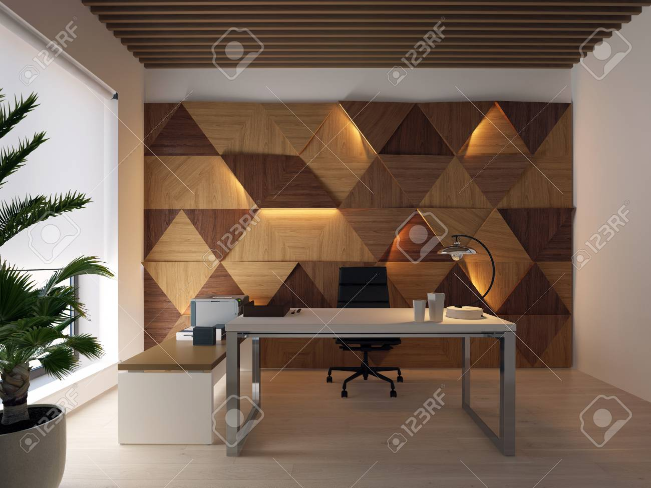 3d Rendering Wood Wall Panels On The Wall And Desktop Stock Photo Picture And Royalty Free Image Image 116775864