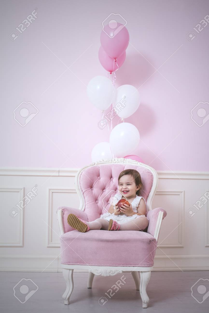 baby girl chair cheapest office chairs beautiful and happy pink interior with vintage balls apple holiday stock