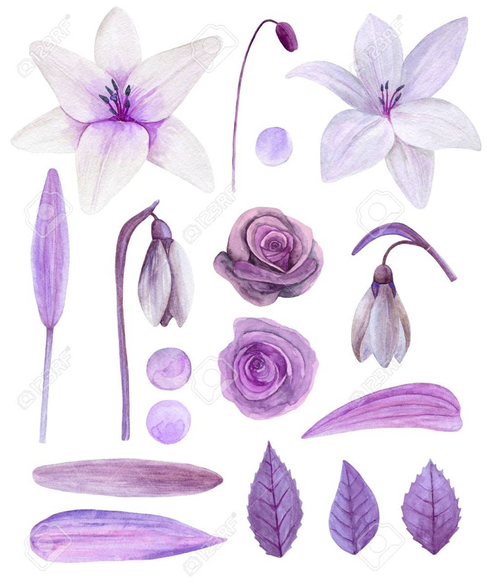medium resolution of purple flowers clipart watercolor lilac floral bouquet clip art stock photo 96670919