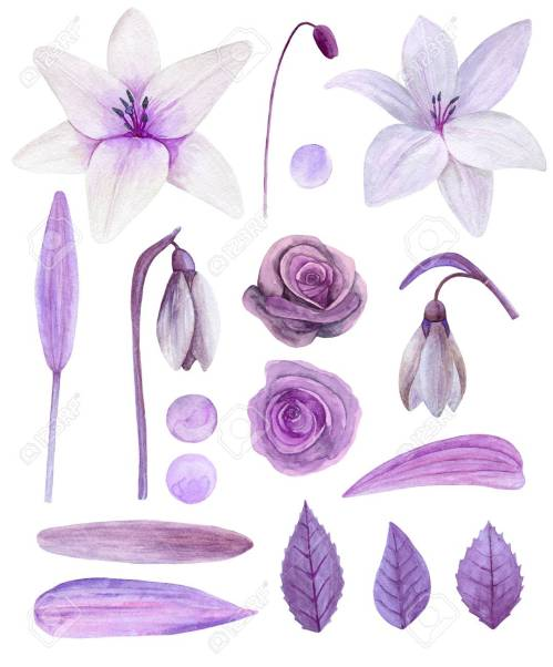 small resolution of purple flowers clipart watercolor lilac floral bouquet clip art stock photo 96670919