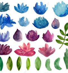 stock photo watercolor abstract flowers clipart blue and purple floral [ 1300 x 1171 Pixel ]