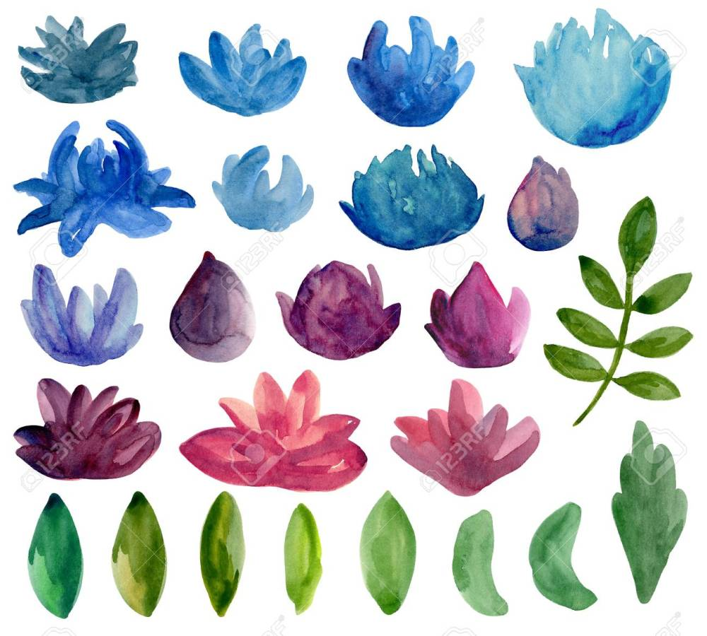 medium resolution of stock photo watercolor abstract flowers clipart blue and purple floral