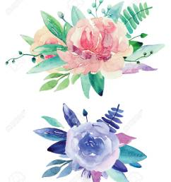 stock photo watercolor floral bouquets clip art pink and purple flowers clipart [ 1070 x 1300 Pixel ]