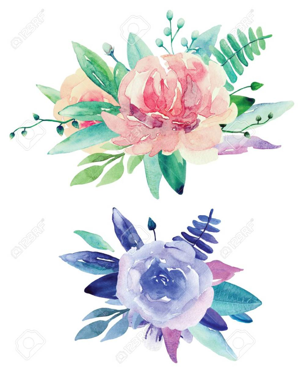 medium resolution of stock photo watercolor floral bouquets clip art pink and purple flowers clipart