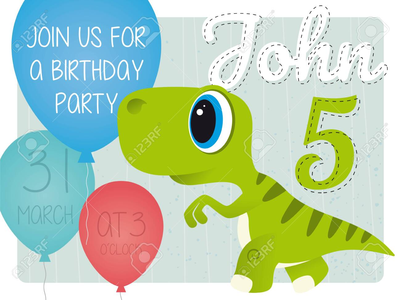 john 5th birthday party invitation card with dinosaur