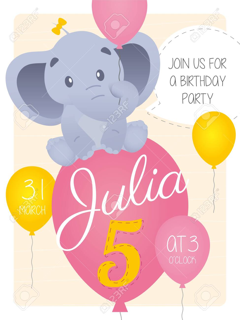 vector 5th birthday party invitation card with cartoon elephant