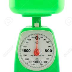 Kitchen Weight Scale Summer Design Green Weighing For Food Ingredients On A White Stock Background Photo 34554284