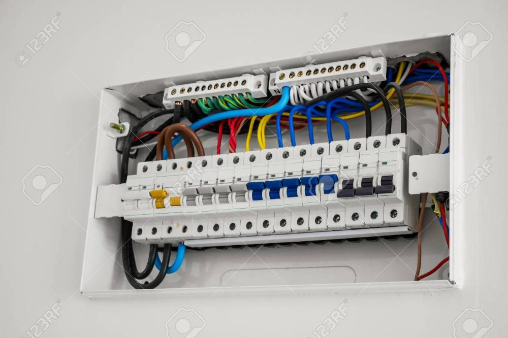 medium resolution of consumer unit and circuit breaker installed on the house wall stock photo 97147842