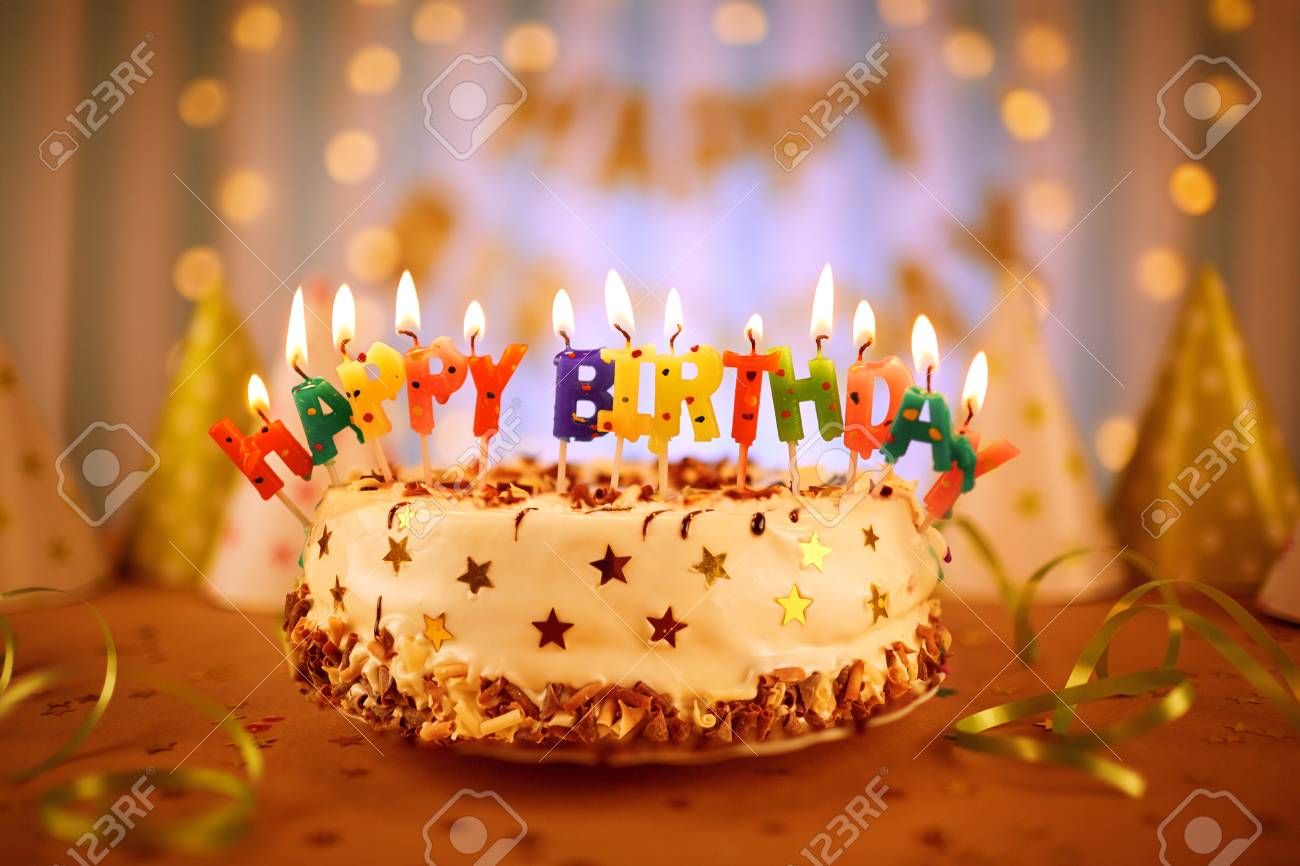 Happy Birthday Cake With Candles Stock Photo Picture And Royalty Free Image Image 93273800