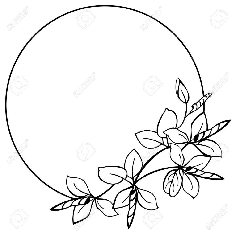 medium resolution of round flower frame stock vector 9056361