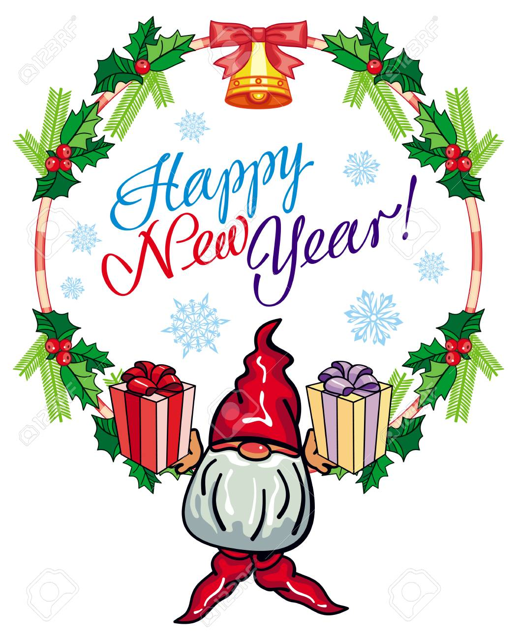 Holiday Round Label With Christmas Decorations Funny Gnome And Royalty Free Cliparts Vectors And Stock Illustration Image 67687698