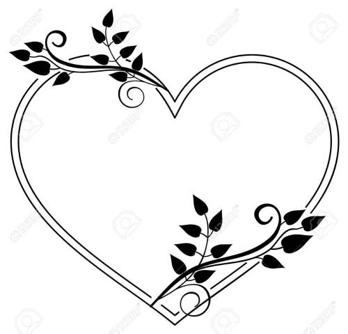 small resolution of heart shaped black and white frame with floral silhouettes copy space vector clip