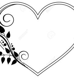heart shaped black and white frame with floral silhouettes copy space vector clip [ 1300 x 1057 Pixel ]