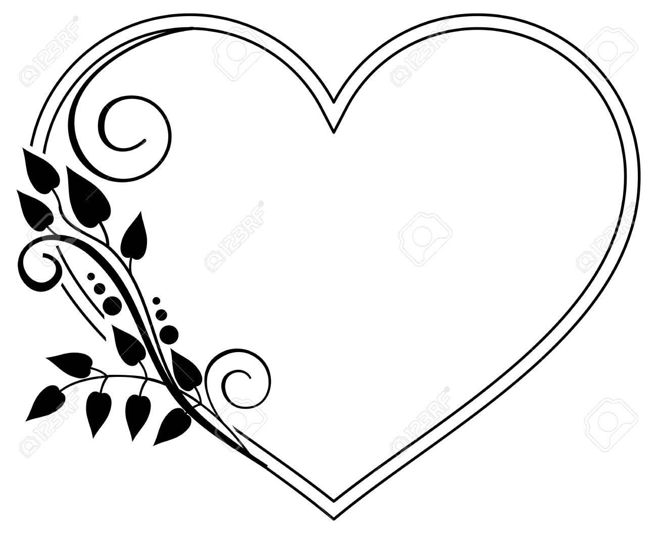 hight resolution of heart shaped black and white frame with floral silhouettes copy space vector clip